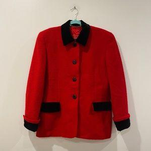 Escada Red Jacket with Black Velvet & Black Button
